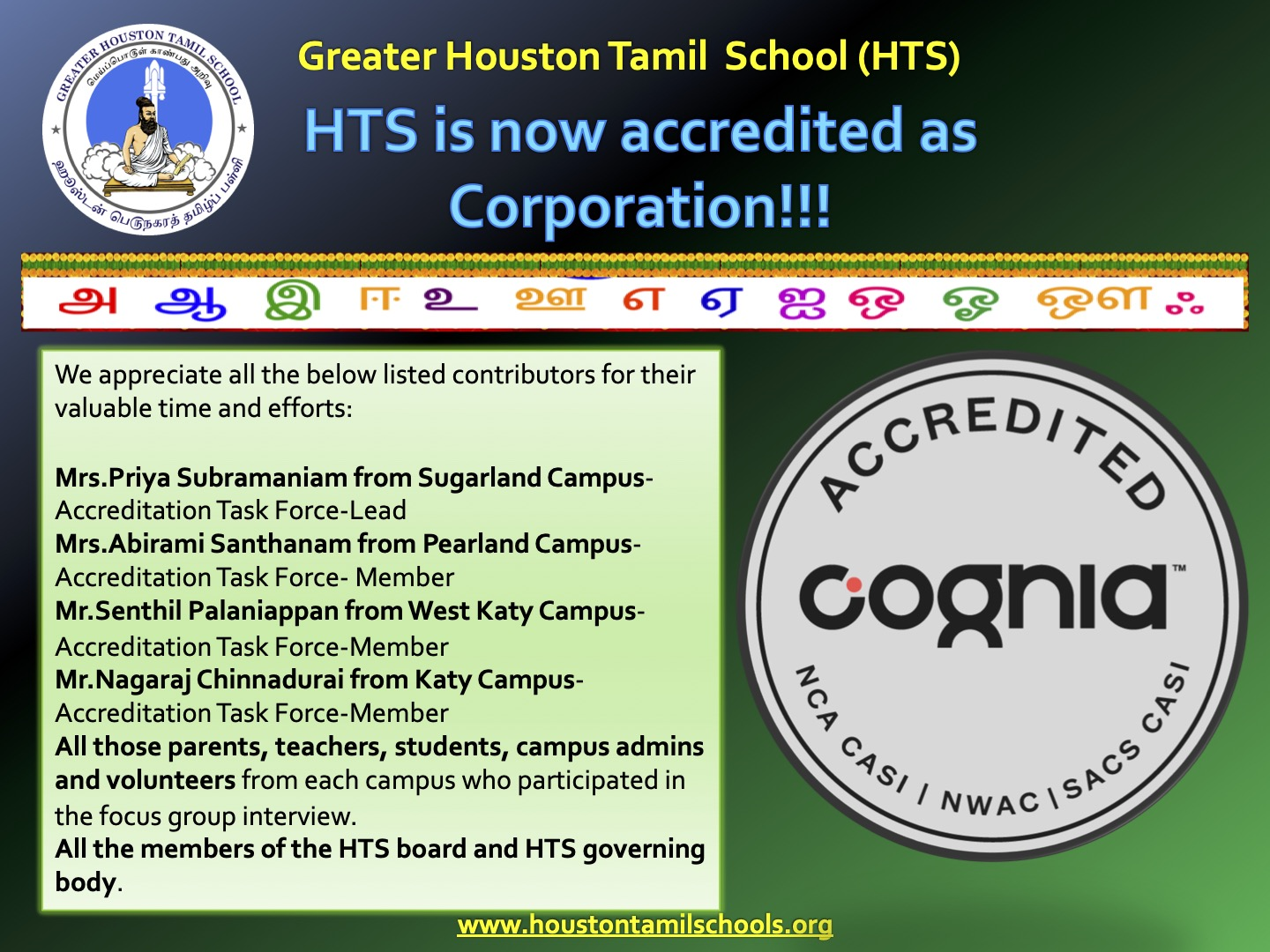 HTS is now accredited as Corporation